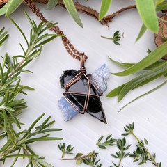 Kyanite and Obsidian Pendant
