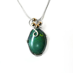 Matrix Opal, 8.61 ct gem green pinfire, sterling silver wire wrapped pendant