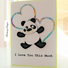 Anniversary Card - Cute Panda - I Love You This Much - Mother's Day Card ,Love