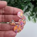 Petite Confetti - PINK - Glittering - Drop Resin - Stud Dangle earrings