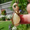 Honey Opal Matrix opal, 14k gold fill wire wrapped pendant, gemstone gift
