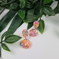 Petite Confetti - PINK - Glittering - Drop Resin - Stud Dangle earrings