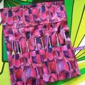 Crochet Hook Handy Wrap-Modern print in pinks, purple, burgundy, navy and gold