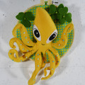 Octopus with Clover Flower Wall Mounted Felt Ring Wire Sculpture Faux Taxidermy