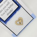 Get Well Card - White embossed with Blue mulberry panel
