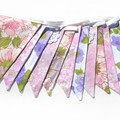 Vintage Retro 'Purple pink and Green Floral' Flag Bunting