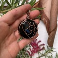 Black Agate Mother and Baby Pendant