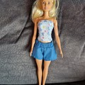 Barbie doll clothes - heart print bustier and blue shorts set