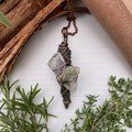 Black Kyanite, Lemurian Quartz and Green Kyanite Pendant