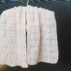 Knitted scarf in soft blush pink