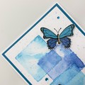 Get Well Card - Watercolour squares with Butterflies