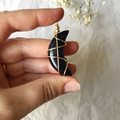 Blue Goldstone moon pendant - Gold