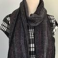 Unisex Scarf Handwoven Handspun Merino Wool Black/Grey/White/Burgundy