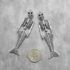 2x Mermaid Skeleton Large connector charms - silver, perfect for earrings