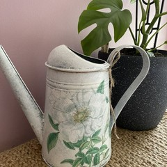 Hand painted Decoupaged Watering Can 2.6L- White Magnolia