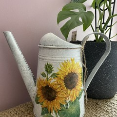 Hand painted Decoupaged Watering Can 2.6L- Sunflowers