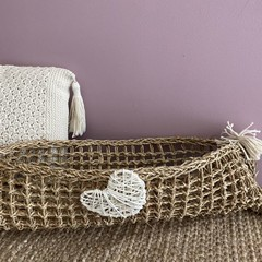 Natural Seagrass Basket with Motif