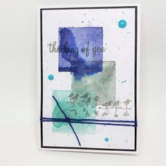 Thinking of You - Watercolour Square with Wetland Birds