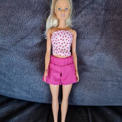 Barbie doll clothes - pink bustier and shorts set