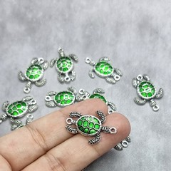 10x Sea Turtle Enamel connector charms - silver and emerald green