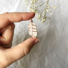 Rose Quartz pendant - Rose Gold