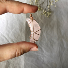Rose Quartz moon pendant - Rose Gold