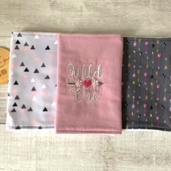 Burp cloth, set 3, embroidered sentiment, rose pink, baby girl gift