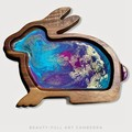 RESIN ART EASTER BUNNY SERVING BOARD WITH SPREADER