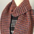 Wool Blend Scarf, Handwoven, Copper / Denim Blue