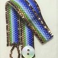 Blue Green Bronze Stripe Bracelet