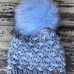 Knitted child beanie grey blue flowers faux fur PomPom fit 4-12 year old boy or