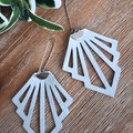"""Deco"" Genuine Leather Earrings, Silver"
