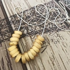 CREAM Handmade Glass Lampwork Disc Bead Necklace
