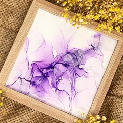 Purple Alcohol Ink Art With Oak Frame