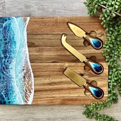 Unique Resin Art Cheeseboard and Knife Set