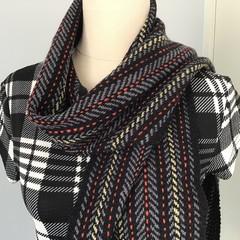 Unisex Scarf, Handspun Merino Wool, Handwoven, Traditional Design,  Black / Grey