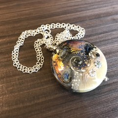 GALAXY Handmade Glass Lampwork Ocean Coin Lentil Bead Large
