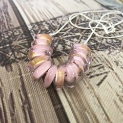PINK Handmade Glass Lampwork Disc Bead Necklace