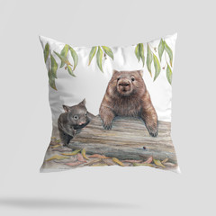 Cushion Cover with Wombats Australian wildlife print on Linen 40cm square