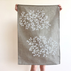 Tasmania's own Nothofagus gunnii screen printed linen tea towel