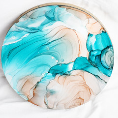 Peachy Blue Waves Alcohol Ink Artwork