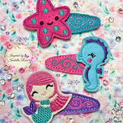 Embroidered Underwater/Mermaid Hair Clips - 3 piece