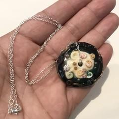 Handmade Glass Lampwork Ocean Disc Bead Necklace