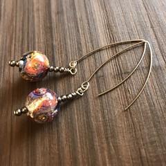 GALAXY Lampwork Glass Galaxy Ocean Marble Earrings