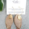 """Autumn Leaves"" Genuine Leather Hoop Earrings, Gold"