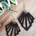 """Deco"" Genuine Leather, Stainless Steel  Earrings, Black"