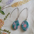 Oval shape dangles with arch shape hooks - Polymer Clay in pink,greens & mauve
