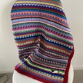 "Red 'Sheep"" Pram Blanket - hand knitted - pure wool"