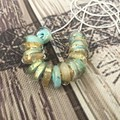 BABY BLUE Handmade Glass Lampwork Disc Bead Necklace
