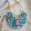 U shape necklace - Polymer Clay in pink,greens & mauve